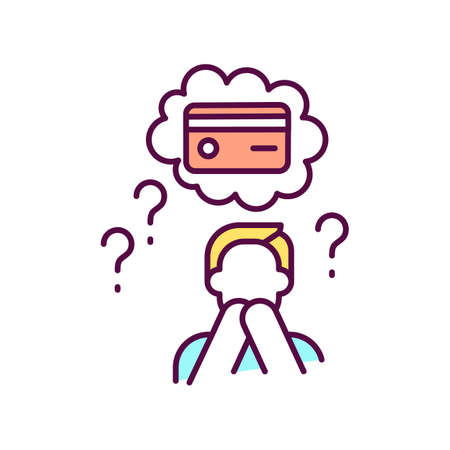 Lost or stolen of credit card RGB color icon. Unauthorized charges. Bogus transactions and fraudulent charges. Verifying identity. Account number and payment. Isolated vector illustration Ilustración de vector