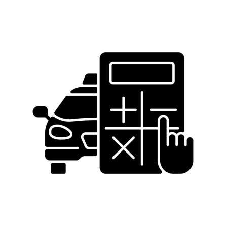Rate estimator black glyph icon. Car and calculator. Estimation of the taxi fare. Fixed rate. Cost estimate. Cheap taxi service. Silhouette symbol on white space. Vector isolated illustration Vektoros illusztráció