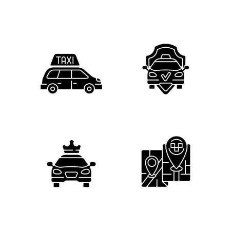 Modern taxi service black glyph icons set on white space. Safe ride. Long distance trips. Premier cars. Luxury car rental. Minivan taxis. Silhouette symbols. Vector isolated illustration