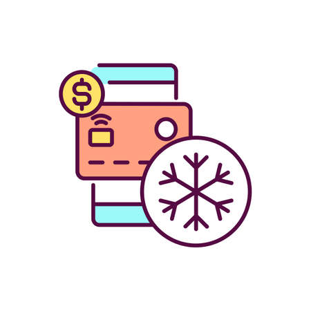 Freeze credit card RGB color icon. Loss and restoration of plastic card. Fraud attack. Preventing new charges. Authorization and identifition. Purse and wallet. Isolated vector illustration