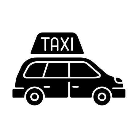 Minivan taxis black glyph icon. Van side view. Need to transport a large group of people. Roomy car. Modern taxi service. Silhouette symbol on white space. Vector isolated illustration
