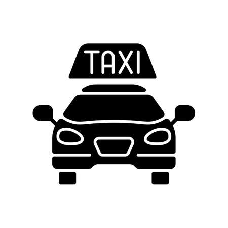 Taxis black glyph icon. Modern taxi. Transportation service. Convenient and fast city transport. Taxi checker car icon. Silhouette symbol on white space. Vector isolated illustration