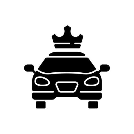 Premier cars black glyph icon. Service for ordering premium taxis. Comfortable ride. Reservation of passenger cars. Luxury cab. Silhouette symbol on white space. Vector isolated illustration