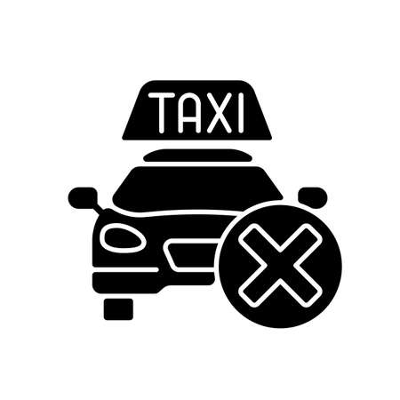 Cancellation policy black glyph icon. Cancel of ordered taxi. Trip cancellation penalty. Modern taxi service. Free trip repeal. Silhouette symbol on white space. Vector isolated illustration