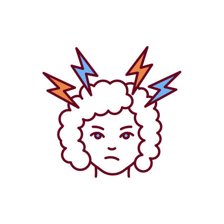 Nervousness RGB color icon. Nervous state. Anxiety, irritation. Body stress response. Panic attacks. Boosting adrenaline production. Restless and tense feeling. Isolated vector illustration