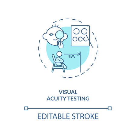 Visual acuity testing concept icon. Eye screening for children. Eye exam that checks how you can naturaly see idea thin line illustration. Vector isolated outline RGB color drawing. Editable stroke Vektorgrafik