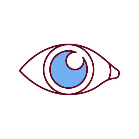 Pupil widening RGB color icon. Mydriasis. Stimulants, drugs, caffeine effects. Brain damage. Rising in intraocular pressure. Releasing in brain endorphins and adrenaline. Isolated vector illustration
