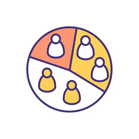 Audience segmentation RGB color icon. Dividing people into homogeneous subgroups. Audience analysis. Market segmentation. Based on behavior, product usage criteria. Isolated vector illustration