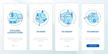 Eye diseases treatment methods onboarding mobile app page screen with concepts. Eye drops for dry eyes walkthrough 4 steps graphic instructions. UI vector template with RGB color illustrations
