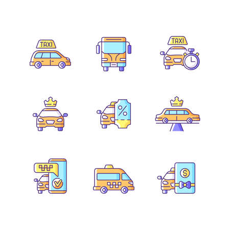 City transport RGB color icons set. Modern taxi service. Convenient service for ordering car. Luxury car rental. Minivan taxis. Charters bus transportation. Isolated vector illustrations