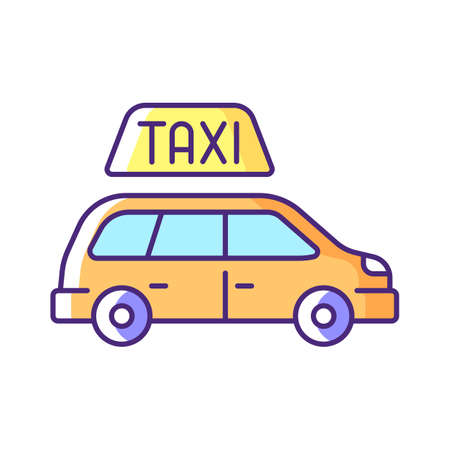 Minivan taxis RGB color icon. Van side view. Convenient service for ordering car. Need to transport a large group of people. Roomy car. Modern taxi service. Isolated vector illustration