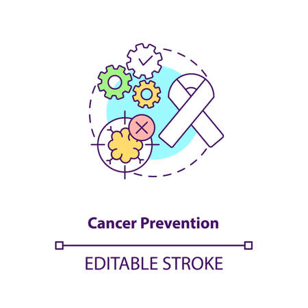Cancer prevention concept icon. Health care. Oncology treatment. Intermittent fasting benefits idea thin line illustration. Vector isolated outline RGB color drawing. Editable stroke Vektoros illusztráció