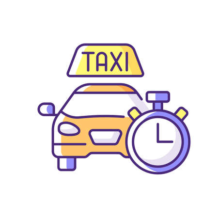 Immediate availability RGB color icon. The ability to quickly order a taxi. Affordable ride. Convenient service for ordering car. Car icon with clock face. Isolated vector illustration