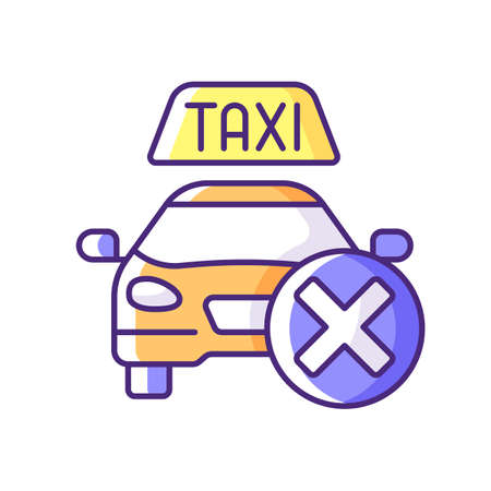 Cancellation policy RGB color icon. Cancel of ordered taxi. Trip cancellation penalty. Convenient service for ordering car. Modern taxi service. Free trip repeal. Isolated vector illustration