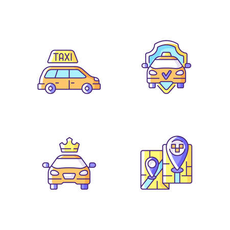 Modern taxi service RGB color icons set. Safe ride. Convenient service for ordering car. Long distance trips. Premier cars. Luxury car rental. Minivan taxis. Isolated vector illustrations