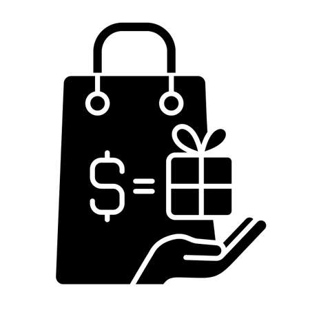 Purchase bonus black glyph icon. Buying things in shops. Doing shopping and getting discounts. Cash back and cost reduction. Silhouette symbol on white space. Vector isolated illustration