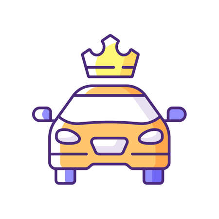 Premier cars RGB color icon. Service for ordering premium taxis. Comfortable ride. Convenient service for ordering car. Reservation of passenger cars. Luxury cab. Isolated vector illustration