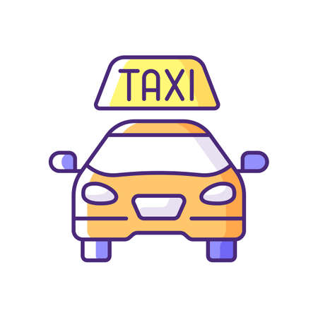 Taxis RGB color icon. Modern taxi. Transportation service. Convenient service for ordering car. Convenient and fast city transport. Taxi checker car icon. Isolated vector illustration
