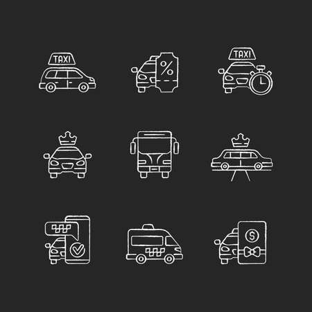 City transport chalk white icons set on black background. Modern taxi service. Luxury car rental. Minivan taxis. Charters bus transportation. Isolated vector chalkboard illustrations
