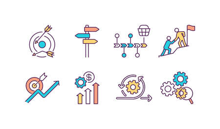 Business performance RGB color icons set. Poor strategy execution. Customer journey map. Providing solutions. Partnership. Functional expertise. Boosting productivity. Isolated vector illustrations