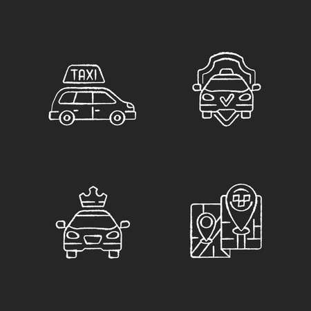 Modern taxi service chalk white icons set on black background. Safe ride. Long distance trips. Premier cars. Luxury car rental. Minivan taxis. Isolated vector chalkboard illustrations