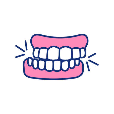 Teeth grinding RGB color icon. Jaw involuntary clenching. Bruxism. Oral parafunctional activity. Stress, fear, concentration aftermath. Chipped teeth. Sleep disorders. Isolated vector illustration