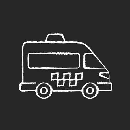 Shuttle buses chalk white icon on black background. Convenient means of transportation around the city. Travel by company. Alternative city transport. Isolated vector chalkboard illustration Ilustración de vector