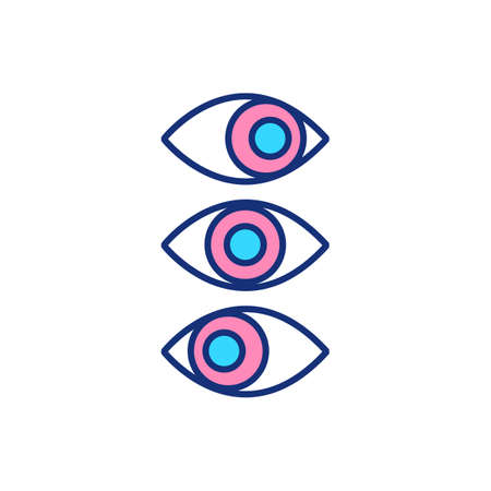 Rapid eye movements RGB color icon. Sleep cycle. Brain showing activity. REM and non-REM sleep. Viewing dream-world. Behavior disorder. Dreaming. Brain neurons activity. Isolated vector illustration