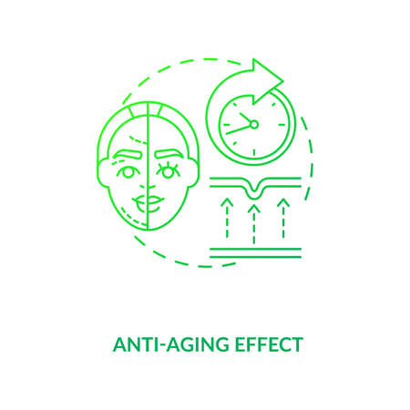 Anti aging effect dark green concept icon. Smooth skin. Wrinkle treatment. Cosmetology. Intermittent fasting diet benefit idea thin line illustration. Vector isolated outline RGB color drawing