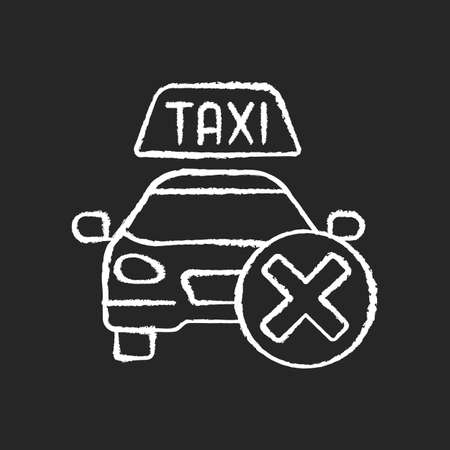 Cancellation policy chalk white icon on black background. Cancel of ordered taxi. Trip cancellation penalty. Modern taxi service. Free trip repeal. Isolated vector chalkboard illustration
