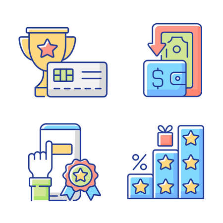 Benefits and refunds RGB color icons set. Consumers shop and save money. Purchasing things and getting bonuses. Rewarding credit card. Savings and cashback. Isolated vector illustrations