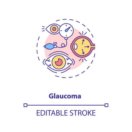 Glaucoma concept icon. Adults eyes diseases. Eye diseases which result in damage to optic nerve idea thin line illustration. Vector isolated outline RGB color drawing. Editable stroke