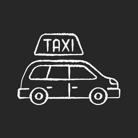 Minivan taxis chalk white icon on black background. Van side view. Need to transport a large group of people. Roomy car. Modern taxi service. Isolated vector chalkboard illustration