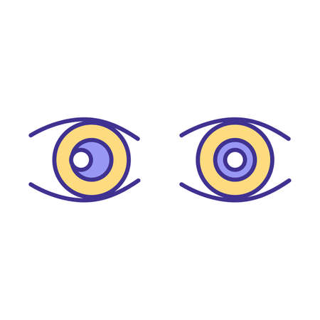 Eyes problems RGB color icon. Dealing with damaged reflectors of human body visionary organs and brain nerves. Optician making healing plan. Isolated vector illustration