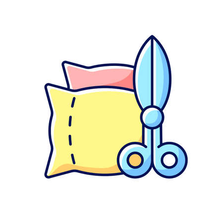 Household items and alterations RGB color icon. Upholstery production. Work with textile. Home cushions, pillows restoration. Clothing alteration and repair services. Isolated vector illustration