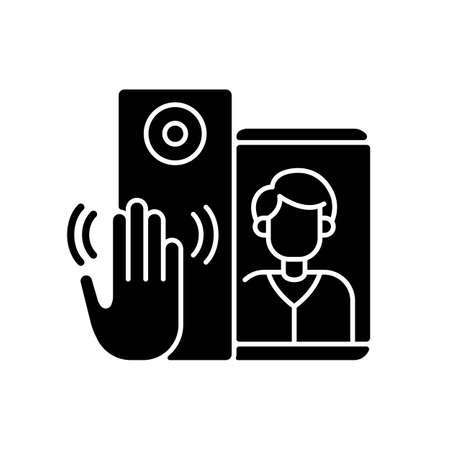Video intercoms black glyph icon. Sensor technology capable of detecting gestures that trigger bell signal. Special smart home devices. Silhouette symbol on white space. Vector isolated illustration