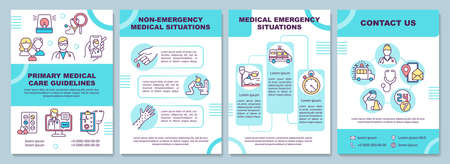 Primary medical care guidelines brochure template. Emergency issue. Flyer, booklet, leaflet print, cover design with linear icons. Vector layouts for presentation, annual reports, advertisement pages