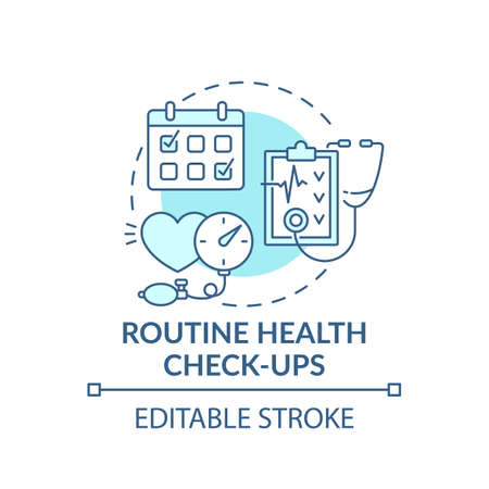 Routine health checkups blue concept icon. Patient examination. Clinical check. Hospital service. Family doctor idea thin line illustration. Vector isolated outline RGB color drawing. Editable stroke