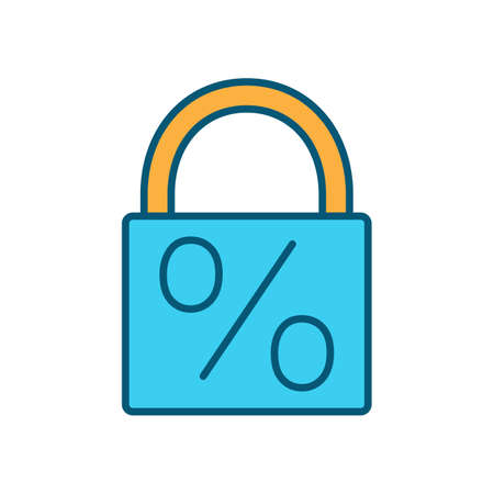 Fixed-rate mortgage RGB color icon. Unchanging interest rate for house loan. Fixed-rate deal. Monthly repayment charges. Fixed period. Fully amortizing mortgage loan. Isolated vector illustration