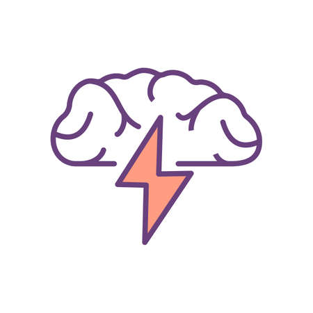 Brainstorming RGB color icon. Open mindedness, creativity. Innovative ideas and potential solutions generation. Approach to problem solving. Free-thinking environment. Isolated vector illustration