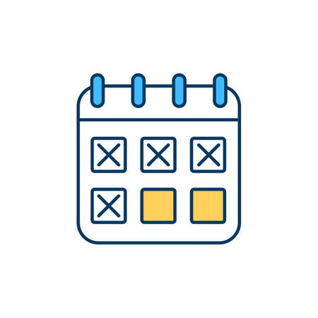 Schedule creation for tasks RGB color icon. Routine establishment. Positive changes in health, mood. Goals, priorities achievement. Work-life balance. Activities planning. Isolated vector illustration