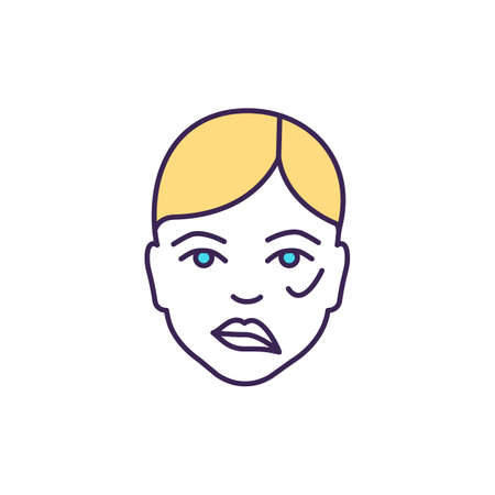 Facial droop in stroke RGB color icon. Brain damage. Weakness, numbness on one face side. Facial paralysis. Interruption in blood flow. Bells palsy. Ischemic attacks. Isolated vector illustration