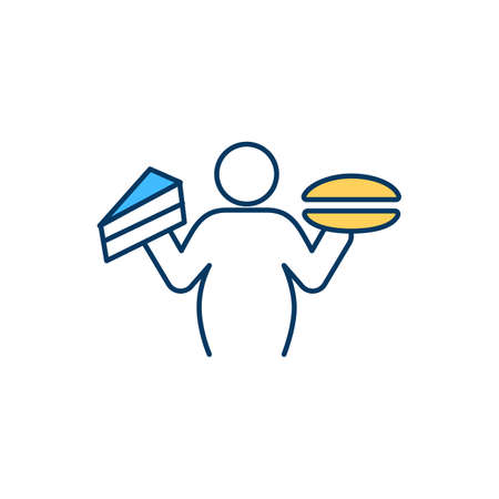 Bulimia nervosa RGB color icon. Changes in appetite. Psychological eating disorder. Consuming large food quantity. Unhealthy impact on body shape. Binge eating episodes. Isolated vector illustration