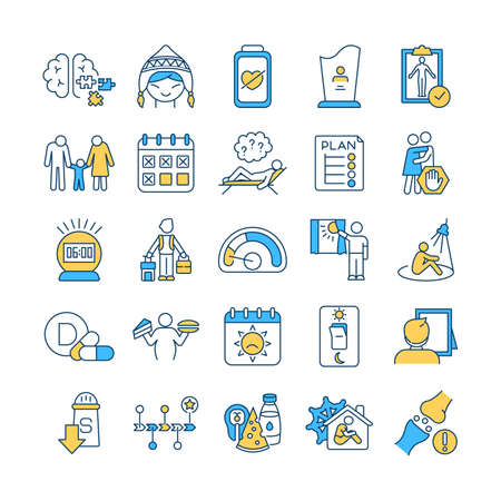 SAD treatment RGB color icons set. Attention deficit disorder. Body screening. Schedule creation. Winter, summer depression. Self-help. Osteoporosis. Low-sodium diet. Isolated vector illustrations