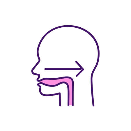 Swallowing reflex RGB color icon. Deglutition. Safely liquids, solid products consumption. Oral cavity. Dysphagia. Moving food from mouth and throat to stomach. Isolated vector illustration