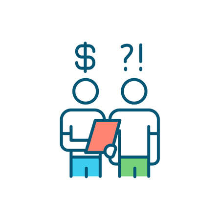 Debt collector RGB color icon. Pursuing debts payments. Recovering owed money. Credit bureaus. Payment obligations. Contact with delinquent customer. Credit reports. Isolated vector illustration