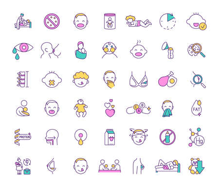 Breastfeeding and baby food RGB color icons set. Feeding method. Milestones. Prenatal education providing. Maternal bond. Breastmilk substitutes. Baby cues. Infancy. Isolated vector illustrations