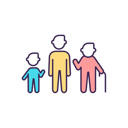 Growth stages RGB color icon. Biological age. Aging process. Childhood. Age and gender differences. Adolescence, adulthood. Physical development. Senior, elderly years. Isolated vector illustration