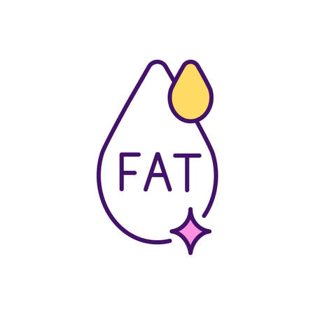 High-fat food RGB color icon. Balanced diet. Essential macronutrients for providing health body. Cholesterol levels in body. Saturated fat. Fat-free products. Isolated vector illustration