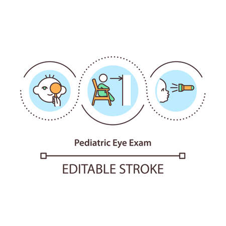 Pediatric eye exam concept icon. Pediatric ophthalmologist idea thin line illustration. Vision problems. Testing of eyes and eyewear. Vector isolated outline RGB color drawing. Editable stroke